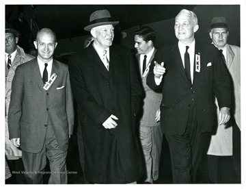 From left to right: Senator John D. Hoblitzell, Jr., President Dwight Eisenhower, governor Cecil Underwood and Senator Chapman Revercomb.  President Eisenhower appears in Charleston, October 28, 1958.