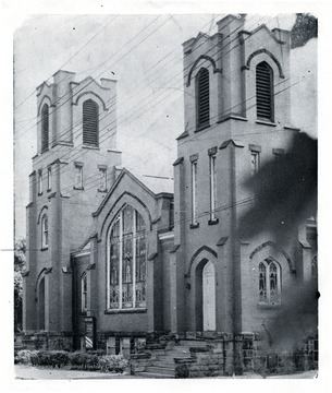 The church stands on Spruce street.