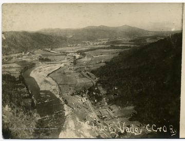 Ariel view of the valley and the Carolina, Clinchfield and Ohio Railroad.