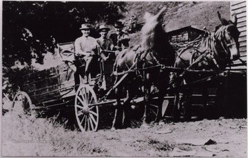 "Men posed on a horse drawn carriage near Hacker Valley, W. Va. ""Perry at left. Others unknown."""