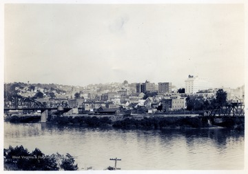 Looking East from West side of Monongahela River (Coal Tipple) Showing B. and O. Depot and Hotel Morgan.