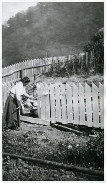 Romanian woman white washing a fence on her property.