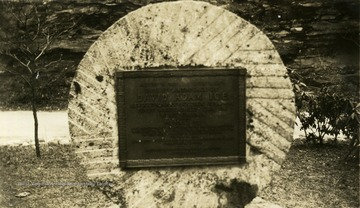 This stone marks the place of David Adam Ice's birth. He was thought to be the first white child born in West Virginia in 1767.