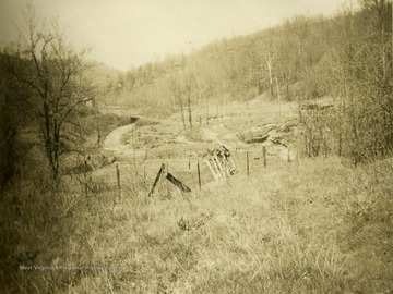 Photograph of location where an old saw mill stood in Monongalia County, West Virginia.