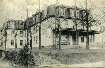 Postcard photograph of West Virginia University Women's Residence Hall also known as Episcopal Hall.