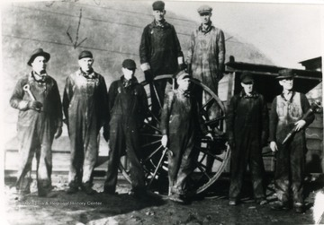 Front, Left to right: Tom Epperley, Perry Goff, Joe Conner, ___ Bragg, Adolphus Harvey, H. F. Burrow; Back Row, Left, Nathan Lane and ___ Clark.
