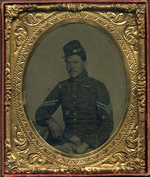 Pierpoint was originally from Morgantown, Virginia (later West Virginia. He was employed in Indiana at the start of the Civil War and enlisted in a Indiana regiment. His parents, also loyal to the Union, were still living in Morgantown. This cased image is probably an ambrotype.