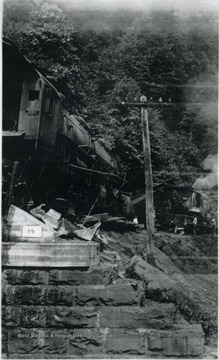 Wrecked locomotive on the Nicholas, Fayette & Greenbrier Railroad, a coal feeder line between Swiss, Nicholas County and Rainelle.