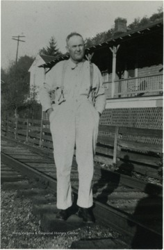 Photograph taken in front of the Railroad Section House, where Frank Long, uncle of Roy Long, lived.