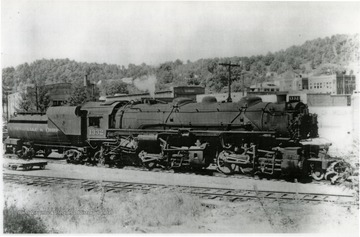 C & O Railroad's mallet engine on track in Mount Hope, West Virginia.