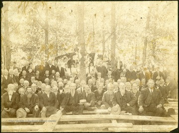 "Group of Confederate Veterans at Forest Hill Primitive Baptist Church. None are identified. Inscribed on the back: ""Given to Stephen Trail by Mary Shumate Feb. 1984."" Mike Foster belonged to the Monroe Guards, 27th Virginia Infantry, ""Stonewall"" Brigade."