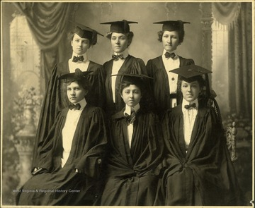 "Graduation photograph from Ethel Maybury Academy. Three girls are identified: Sadie Louise Richards, Winchester, Virginia; Virginia Clyde Joyce, Gambrills, Maryland; Onea Clyde Clatte, Hinton, West Virginia. Inscribed on the back: "" From Jim Pettrey of the Hinton Daily News Collection to Stephen Trail."""