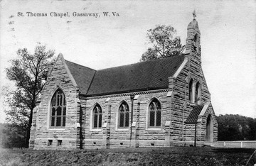 Post card photograph of a stone constructed church in Braxton County.