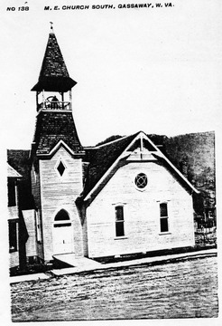 Wooden structure church with open bell tower located in Braxton County.