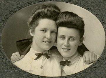 To the right is Edna Linhart Jackson, the wife of Hoy Jackson. The other young woman is not identified.