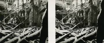 A raumbild-verlag (stereocard) of the destroyed theater after the Allied attacks during World War II