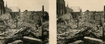 A raumbild-verlag (stereocard) of what was left of the ancient quarter and entrance to Saalgasse after Germany was bombed during World War II.