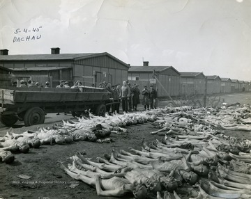 "Information on the back of the photgraph, ""Visiting American newspaper and magazine men view rows of corpses of prisoners at the German concentration camp at Dachau. About 200 bodies were piled here."""