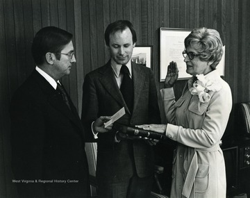 Pictured with U.S. Department of Housing and Urban Development Secretary Lynn. Holt was the first woman Secretary of State in West Virginia in 1955-1956. She continued active political participation long after her term and is most well known for her work in improving the housing and health care for the elderly.