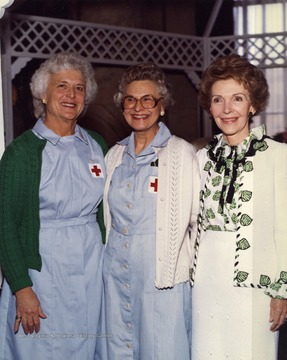 Helen Holt (middle) is pictured with the First Ladies of the 40th and 41st Presidents of the United States. Helen Holt was the first woman secretary of West Virginia and also had a great influence on the improvement of housing and healthcare for the elderly in later political activity.
