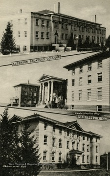 Buildings shown: Top: Field House, Middle: Administration Building, Bottom: Whitescarver Hall. Published by the Teacraft Company. (From postcard collection legacy system.)