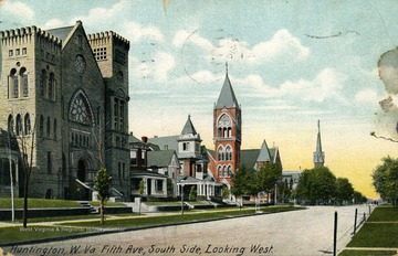 View of church and homes along side of Fifth Ave. in Huntington, West Virginia. See original for correspondence. Published by Hugh C. Leighton Company. (From postcard collection legacy system.)