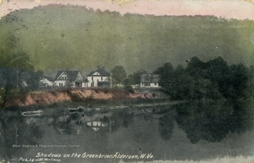 View of the Greenbrier from the river. See original for correspondence. Published by J.W. McClung. (From postcard collection legacy system.)