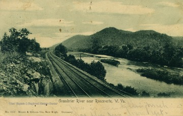 Train tracks run along the side of the Greenbrier River. See original for correspondence. Published by Moore & Gibson Co. (From postcard collection legacy system.)