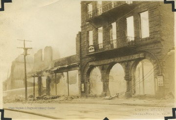 Scene of buildings destroyed by fire including the Morgantown Hardware Co. shown to the far right.