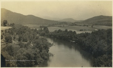 Aerial view of the river in Summers county.