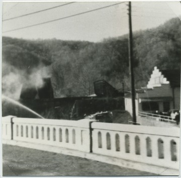 View of the damage from the bridge.