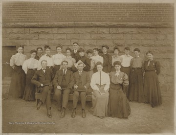 Group portrait of the faculty for the 1905-1906 school year.Pictured is Kate Whitman, Lila Loring, Fred Lilly, Johnnie riffe, Miss Elana Carler, Alic Corker, Miss Alice Burke, superintendent Jeb Bush, Mame Noel, Jenie Miller, Anne Gose, Ann Humphron (?), Ethel Curry, Mattie McCartney, Mrs. May Walker, Mr. Curri, Mr. Ball, Mr. Mattics, Jeannie Lind Hobbes, and Florence Smith.