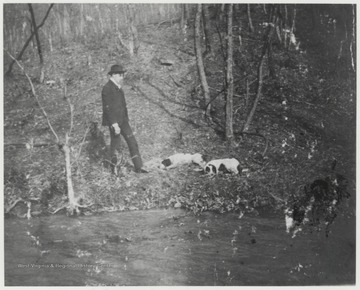 Murrell and his two dogs roam along the river bank.