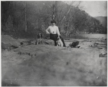 Murrell and her two dogs are pictured at the Bluestone River Canyon near Hinton, W. Va.