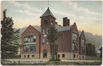 Postcard drawing of the old high school building. See original for correspondence.Published by Hugh C. Leighton Co.