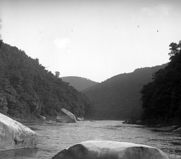 The boulder on the Cheat River, known as Squirrel Rock, is pictured.