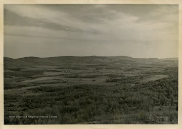 This image is part of the Thompson Family of Canaan Valley Collection. The Thompson family played a large role in the timber industry in Tucker County during the 1800s, and later prospered in the region as farmers, business owners, and prominent members of the Canaan Valley community.The location of this view is most likely in the Canaan Valley area.