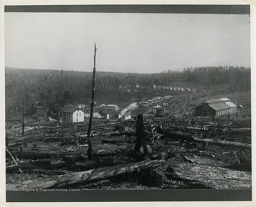This image is part of the Thompson Family of Canaan Valley Collection. The Thompson family played a large role in the timber industry of Tucker County during the 1800s, and later prospered in the region as farmers, business owners, and prominent members of the Canaan Valley Community.A view of Benbush, W. Va.