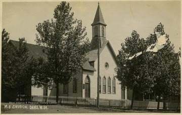View of a Methodist Church in Davis.This image is part of the Thompson Family of Canaan Valley Collection. The Thompson family played a large role in the timber industry of Tucker County during the 1800s, and later prospered in the region as farmers, business owners, and prominent members of the Canaan Valley community.