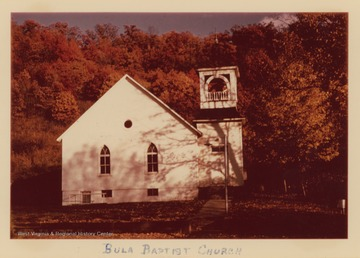 The church was organized in 1861.  The church house was built in 1869 and a new church was dedicated in 1870.  In 1915 Bula Baptist Church joined with Union and West Warren Baptist Churches.