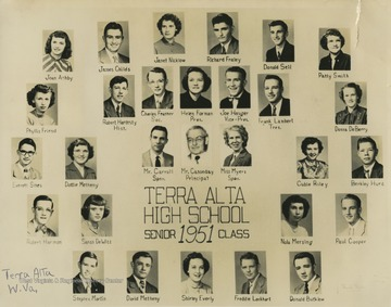 Pictured are Joan Ashby; Donald Bucklew; Mr. Carroll; Mr. Casseday; James Childs; Paul Cooper; Donna DeBerry; Sarah DeWitt; Shirley Everly; Charles Feather; Helen Forman; Richard Fraley; Phyllis Friend; Robert Hardesty; Robert Harmon; Joe Hauger; Berkley Hurd; Frank Lambert; Freddie Lockhart; Stephen Martin; David Metheny; Dottie Metheny; Nola Mersing; Miss Myers; Janet Nicklow; Cubie Riley; Donald Sell; Everett Sines; and Patty Smith.