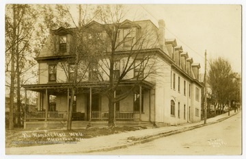 "View of Woman's Hall, previously known as Episcopal Hall, located on the corner of Spruce and Willey Streets. Correspondence on the back reads, ""This is the principal point of interest during the college year."""