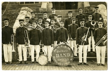 The Jr. OUAM Band poses on the front steps of Stewart Hall on the WVU campus, Morgantown, W.Va.