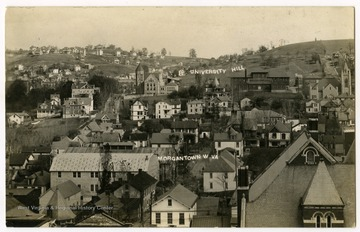 A bird's eye view over downtown Morgantown looking towards the WVU campus.