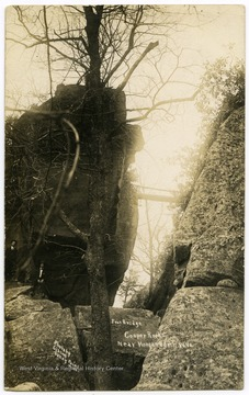 Three men stand below a foot bridge spanning a ravine at Coopers Rock State Forest, W. Va.