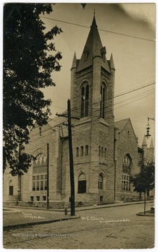 A view of the Methodist Episcopal Church on Willey Street, which is now Wesley United Methodist Church.