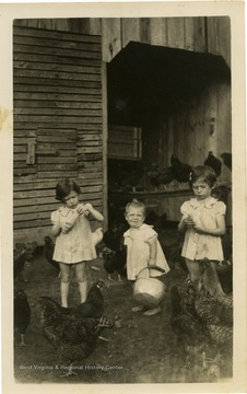 From left to right: Shirley Jeanne Farley, Margie Lois Farley, and Annette Sue Farley. Farm located on Bal Noble Road, Summers County, W. Va.