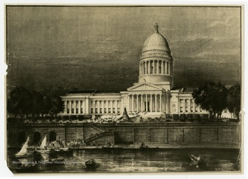 A print of architectural artist Hugh Ferriss's rendering of Cass Gilbert's design for a new capitol building for West Virginia. The print was produced by the well known architectural photograph company, the Wurts Brothers of New York.